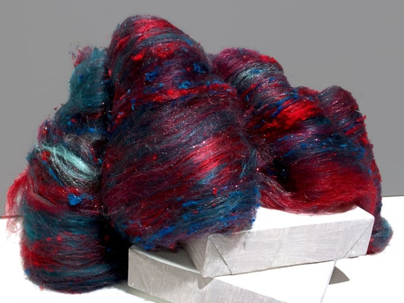 "Teal, Red fiber art batt, ""Dreaming Dragon"" RTS spinning fiber, felting wool, Aqua teal turquoise peacock blue hunter green, red, raspberry"