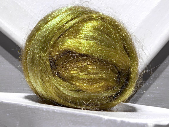 "Gold Olive Sage Firestar ""Pineapple Sage"" Wet, Needle Felting, Spinning Fiber, firestar roving .5 oz  yellow green, gold, olive, sage, brass"