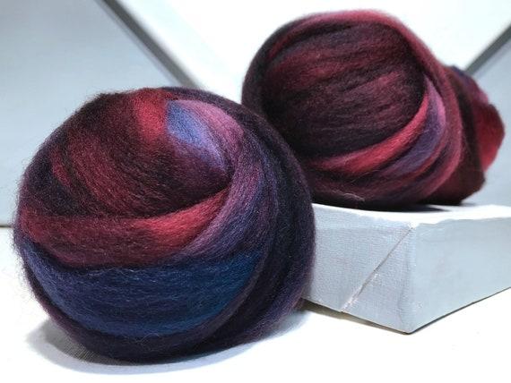 "Deep wine pink wool roving ""Pomegranate"" Felting Spinning Fiber, Needle Felting wool, Merlot plum pink red, blood red, blue red, blue"