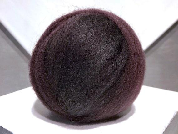 """cherry black brown wool Roving """"Black Pearl"""" black brown wool top w red cast, Needle Felting wool, Spinning Fiber: dark grey, brown, red"""