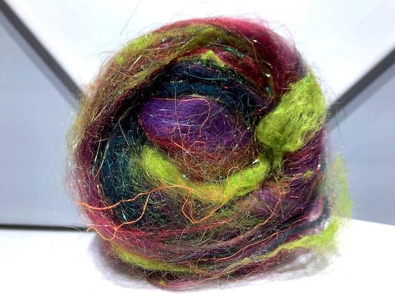 """Art Batt Bomb """"Mardis Gras Christmas"""" Add-in blending Spinning fiber felting wool: Red orange Gold Violet Yellow Green, Stocking Stuffer"""