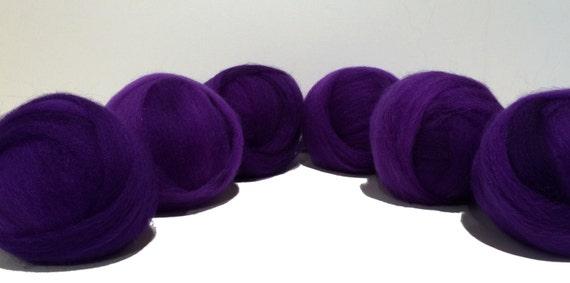 Purple wool roving top, Felting Spinning Fiber,  semi solid, deep purple, heliotrope, violet, great beginner spinning wool