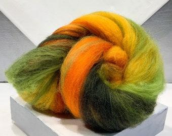 "Color Block Fiber Art Batt ""Pumpkin Patch"" 1 oz, felting wool, spinning fiber: yellow gold, tangerine, red/orange, lime, moss, no sparkles"