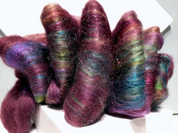 "Smooth fiber art batt, roving, felting, spinning fiber ""Secret Garden"" moss green orange gold plum red violet lime, garden color"