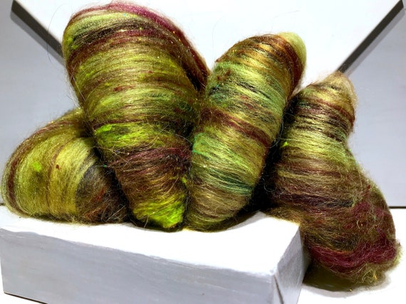 "Chartreuse, Merlot fiber art batt ""Psychedelic Fur"" RTS needle nuno felting wool spinning fiber, topaz Wine, yellow green sienna olive gold"