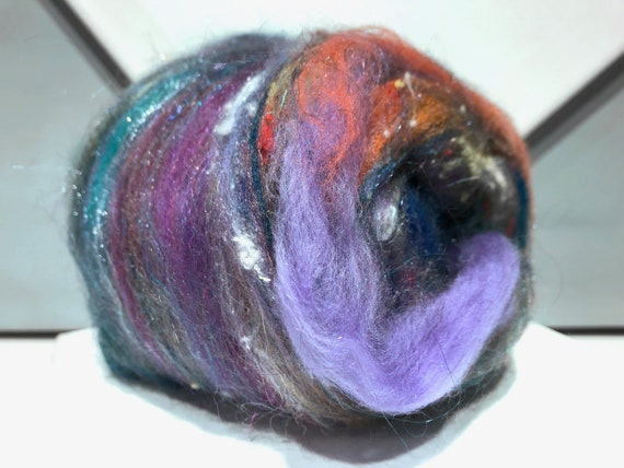 "fiber art batt, wool, roving, spinning, felting ""Fog"" Violet, Grey, silver purple, lavender, mauve, silver grey, Teal, Slate Blue"