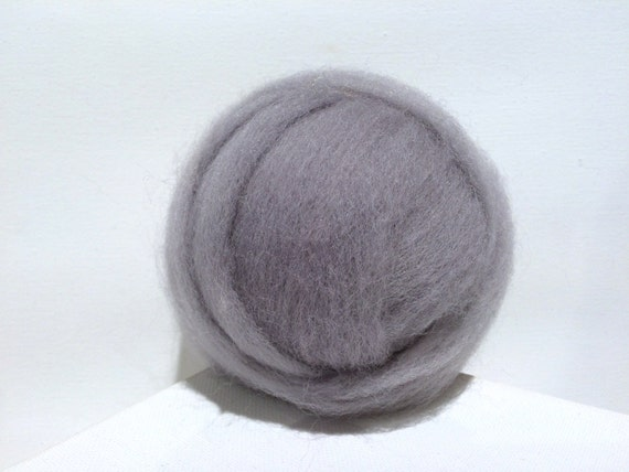 Silver Grey Wool Roving, Needle Felting, Spinning Fiber, grey roving, gray, roving light pewter, ash gray, ship gray roving, Saori weaving