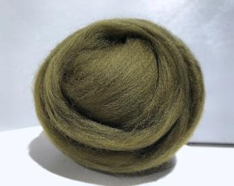 """Dark Olive Green merino wool roving, """"Juniper"""" Needle Felting wool, Spinning Fiber, dark olive green roving, wet felting, nuno felting wool"""