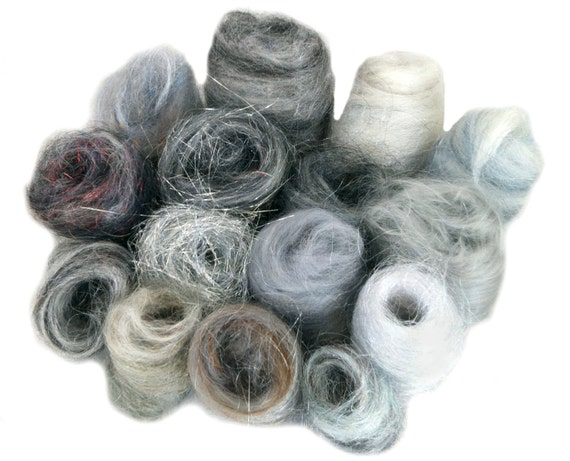 Grey Fiber kit, Sampler, wool, Gray firestar, glitz, Needle Wet Felting Spinning, monochromatic palette, mini batt, Silver grey roving, 1 oz