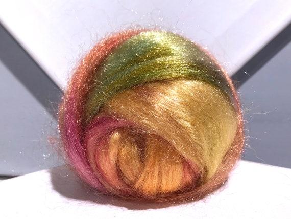 "Pink gold green Firestar roving, Needle Felting, Spinning Fiber ""Citrus Grove""  Pink, salmon, tangerine, gold, olive yellow green .5 oz"