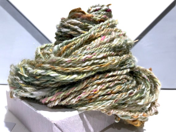 "Thick and Thin Bulky yarn, Handspun sequin art yarn ""Midas' Touch"" green, gold topaz, ecru, white, pink, freeform knitting crochet, weaving"