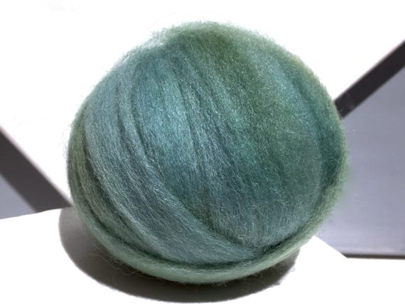 Sage Green wool roving, Spinning, Needle Felting Spinning wool, yellow grey green, blue grey green roving