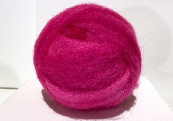 Fushcia Wool Roving, Needle Felting, Spinning Fiber, bright pink roving, neon pink, Barbie Pink, Saori weaving