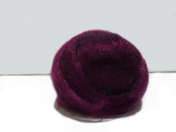 Red Violet, Sparkly Firestar, Roving, Top,Needle Felting, Spinning Fiber, plum, wine, grape, .5 oz, similar to Icicle Top