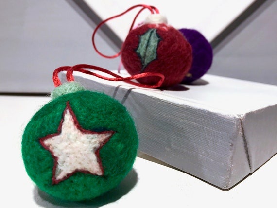 wool catnip toy, cat Christmas tree ornament, Felted