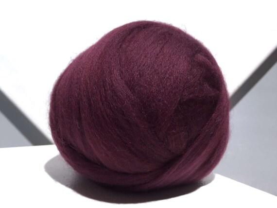 Wine Merino roving, Red Violet wool, Needle Felting, Spinning Fiber, 1 oz, weaving, wine roving, bordeaux roving