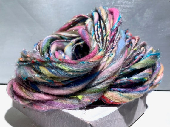 "Pastel scrap yarn, bulky, thick and thin, super texture, mixed fiber Handspun , MTO, ""Pastel Sky"" handspun yarn"