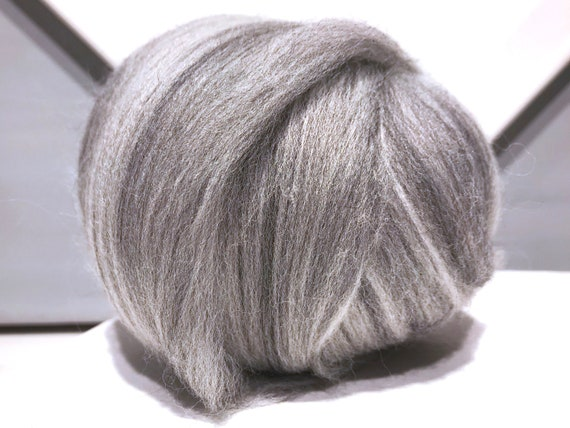 "Marble Grey Ecru Wool Roving ""Ash""  Needle Felting Spinning Fiber, Merino roving ecru grey, neutral colors, weaving"