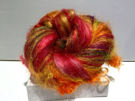 "Fiber art batt, felting wool, spinning fiber, roving, ""Beverly's Fire"" MTO, Red, Yellow, Gold, Cranberry, Violet, Green"
