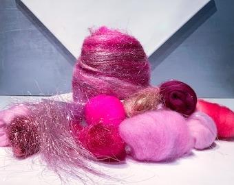 Pink Fiber Art Sampler, felting wool, spinning, Needle Felting kit, pink palette: fuschia, cotton candy, rose *batt option*