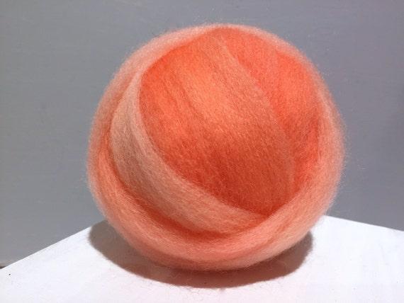 Salmon wool, roving, Needle Felting wool, Spinning fiber, roving, hand dyed, salmon pink, orange, peach wool roving