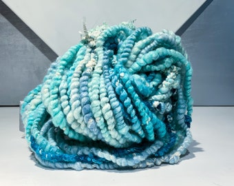 """Thick and thin yarn  """"Clouds & Sky"""" 4.25 oz, 118 yards, RTS, 60/40 Polworth/Silk Handspun, light blue, mint, teal, turquoise, Aqua, chunky"""