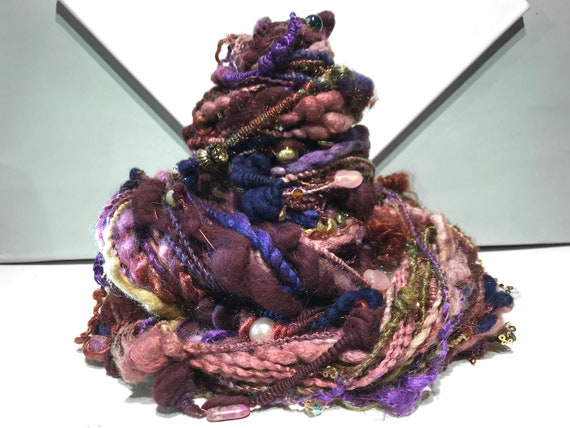 "Wine  Beaded Art Yarn ""Art Fair"" Super Bulky Art Yarn Jewelry: Red violet, Purple, rose gold, copper, lavender, gunmetal, chartreuse, navy"