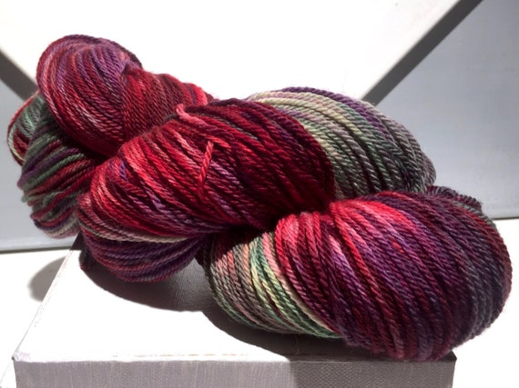 "Sock yarn fingering weight, handpainted yarn ""Hard Candy"" shawl yarn sock weight, red violet purple yellow green sage pink lavender slate"