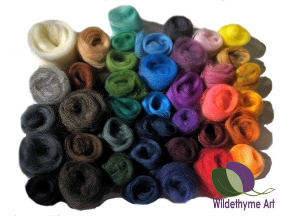 Needle Felting Kit, Craft Kit, DIY Gift, Deluxe: wool roving, multi-color, sparkle options, wool craft kit, Learn to needle felt