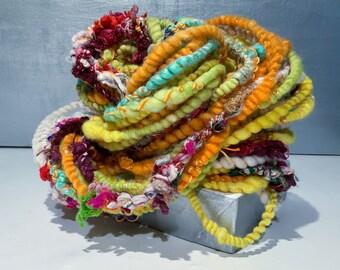 "Handspun, Corespun Art Yarn ""August"" Mint Green, Chartreuse, White, Yellow,  Orange with multicolor slubs"