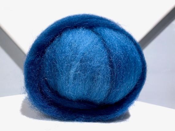 Indigo blue wool roving, Felting wool roving, Spinning Fiber, variegated medium blue, light peacock blue