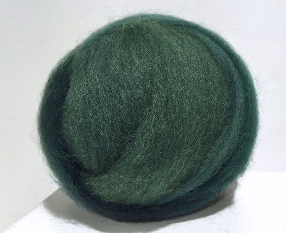Spruce Needle Felting Spinning Fiber, wool, roving, hand dyed, Dark Green, Hunter Green, Veridian, Blue Green, Christmas Pine, Pine green