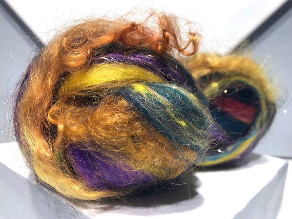 "Fiber Art Batt Bomb ""Black-Eyed Susan"" Add-in, blending, Spinning fiber, felting wool:Gold black brown yellow purple green, stocking stuffer"