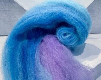 "Color Block Fiber Art Batt ""Blue Quartz"" felting wool, spinning fiber: denim blue, Lavender, crystal ice blue, no sparkle"