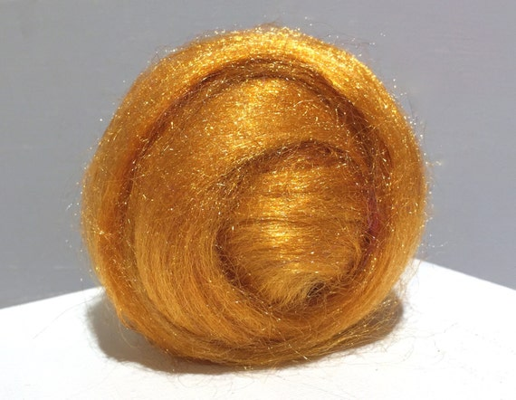 Butterscotch Firestar Roving, Nuno, Needle Felting Spinning Fiber, roving .5oz, light orange, similar Icicle Top, Hand dyed roving