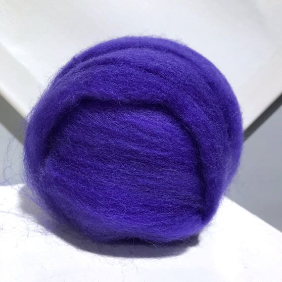 Blueberry wool roving, variegated medium purple roving, Spinning fibers, Needle felting wool, blue violet roving, blueish purple roving