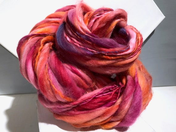 """Thick Thin Art Yarn, bulky handspun yarn """"Tickled Pink"""" Pink, Fuchsia, salmon, orange, purple Crochet, Knitting, weaving yarn, bulky yarn"""