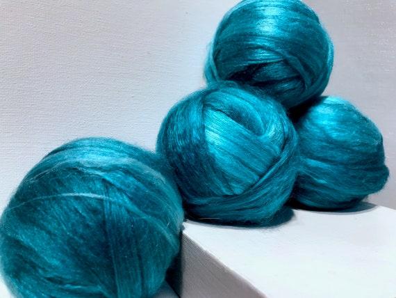 Teal wool silk roving, 50/50 Merino Silk, Spinning Roving, Needle Nuno Felting Fiber, Teal Aqua Seafoam