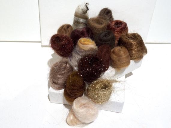 Brown Fiber Art kit Sampler, felting wool, spinning, blending board fiber, Needle Felting kit, brown palette: tan beige taupe chocolate 1 oz