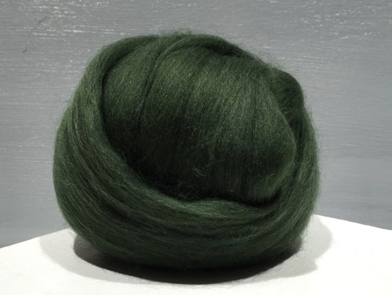 Pine Green Merino wool roving, Needle Felting wool, Spinning Fiber, dark green merino, green merino roving, Saori