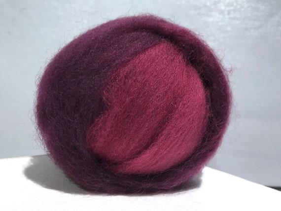 Plum Wool Roving, Spinning fiber, red wine, Needle Felting, red grape roving, claret red, red violet, wine Christmas berry, Saori weavi