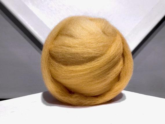 Dijon Mustard Yellow wool roving, Felting Spinning Fiber, Dijon yellow roving,  medium yellow, yellow brown wool roving