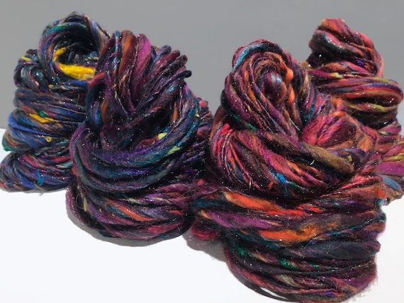 "scrap yarn, bulky, thick and thin, super texture, mixed fiber Handspun , MTO, ""Kaleidescope"""