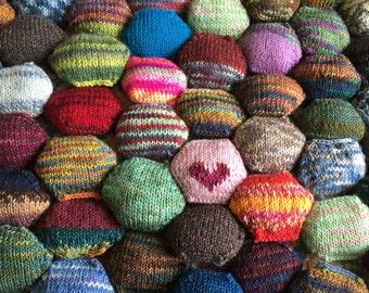 Beekeeper Quilt Starter Kit, Craft Kit, mini skeins, scrap quilt hexipuff,Diy knitting gift, sock yarn, handpainted yarn, FREE SHIPPING US