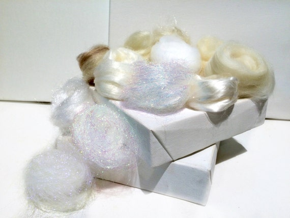 White Fiber kit, Sampler, wool, white firestar, glitz, Needle, Wet Felting, Spinning, Palette, mini batt, white roving, ecru,  1 oz