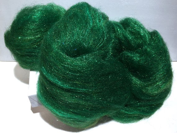 "Green Felting wool Firestar batt ""Sparkly Pine"" MTO, spinning fiber roving, pine, evergreen,  green, forest, Christmas green, holiday decor"