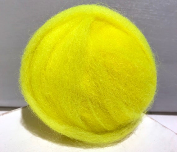Highlighter Yellow Wool Roving, Needle Felting, Spinning Fiber, lemon yellow roving, fluorescent yellow roving, yellow roving, felting wool