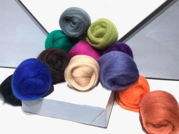 "Felting Wool Winter Color Kit, ""Winter Sweater"" Ashford Winter wool sampler, seasonal color sampler, DIY Gift, last minute wool craft gift"