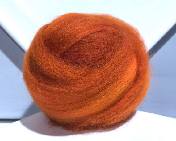 orange, Pumpkin wool roving, hand dyed Felting Spinning Fiber, burnt yellow orange rust cinnamon auburn carrot olive green