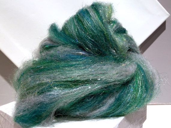 "Silver Green Art Batt Felting wool ""Silver Pine"" spinning fiber roving Firestar Teal green, green silver Christmas holiday decor"